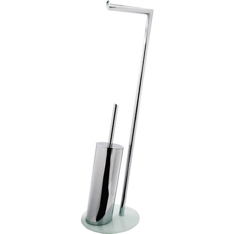 Stand-WC-Garnitur Brisbane chrom mit weißem Glasboden ca. 24 x 70 x 20 cm