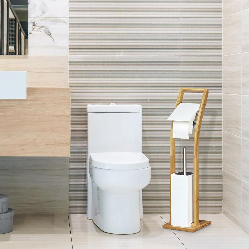 Stand Wc Garnitur Holz Hbt 75 X 19 X 19 Cm Toilettenbürstenhalter Aus Bambus Mit Toilettenpapierhalter Und Klobürste Als Klorollenhalter Freistehend