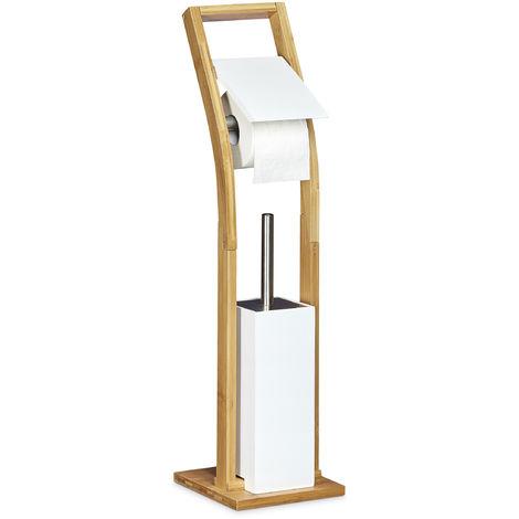 Stand WC Garnitur Holz HBT 75 x 19 x 19 cm Toilettenbürstenhalter aus Bambus mit Toilettenpapierhalter und Klobürste als Klorollenhalter freistehend WC Bürstengarnitur, natur weiß