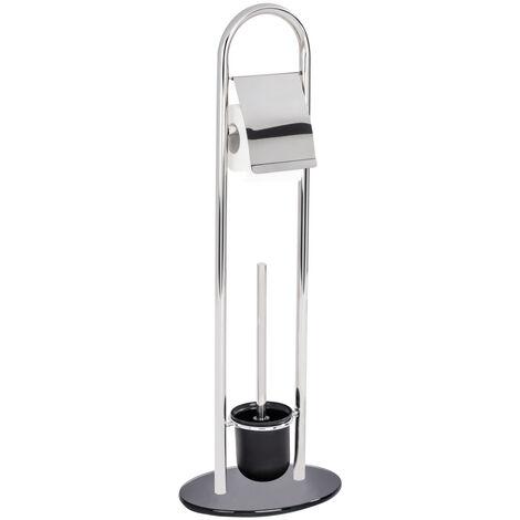 Stand WC-Garnitur Toilettenbürste Klobürste Edelstahl Papier Rollenhalter Atlanta