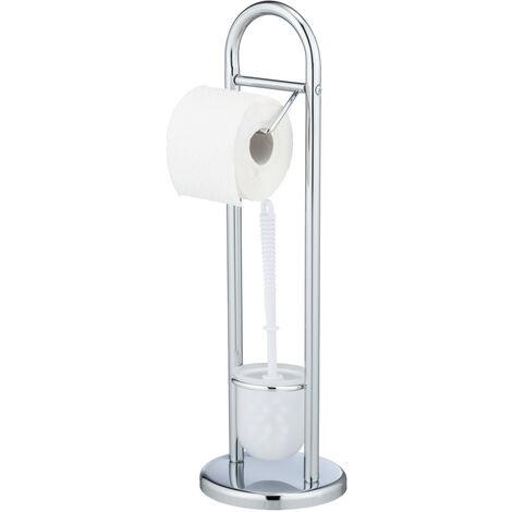 Stand WC-Garnitur Toilettenbürste Klobürsten Toilettenpapier Halter Chrome