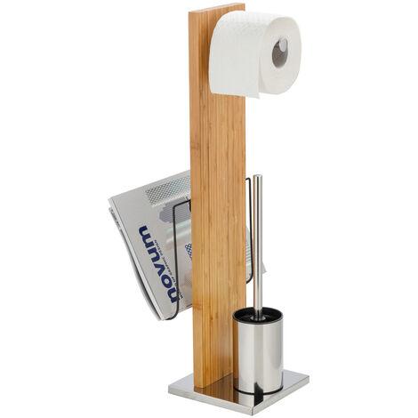 Stand WC-Garnitur Toilettenbürste Papier Rollenhalter Bambus Handy Halter