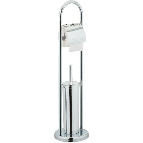 Stand WC Garnitur, Toilettenpapierhalter, Bürstenhalter, Klopapierständer freistehend, HxD: 74 x 19 cm, silber