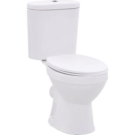Stand-WC mit Spülkasten und Soft-Close-Sitz Keramik Weiß