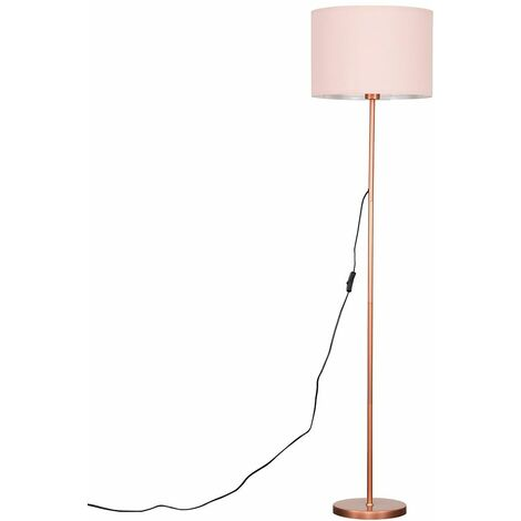 Standard Floor Lamp in a Copper Metal Finish + Pink Cylinder Shade