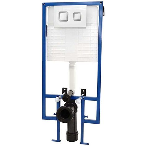Standard Toilet Fixing Frame with Dual Flush Cistern and Zeno Flush Plate