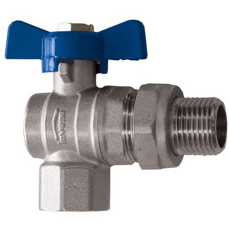 """Standard Water Flow Rate Angled Ball Valve with Butterfly Handle Female x Male 3/4"""" BSP"""