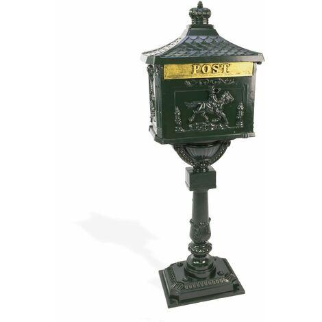 Standbriefkasten ANTIK grün Alu-Guss kunstvoll Briefkasten Postkasten