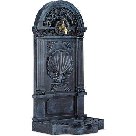 Standbrunnen, Antik-Stil, Nostalgie, Garten, Terrasse, Wasserhahn, Becken, stehend, HBT: 83 x 39 x 33 cm, grau