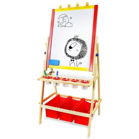 Standing Art Easel, Drawing Writing Board, 120 x 58 x 46 cm, Pizarra Blanca, Pizarra Negra, Pizarra Magnética y Rollo de Papel, Madera Natural, Accesorios: (12x) Palitos de tiza de colores (2x) Marcadores de pizarra blanca (1x) Borrador de pizarra (5x) Co