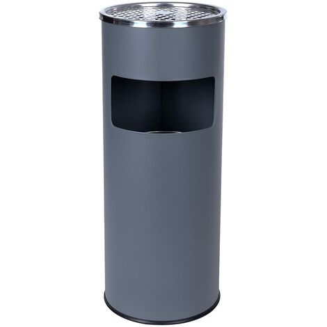 Standing Ashtray Rubbish Bin with Inner Bucket Outdoor Stainless Steel 60.5 x 24.5cm Black/Grey/Silver
