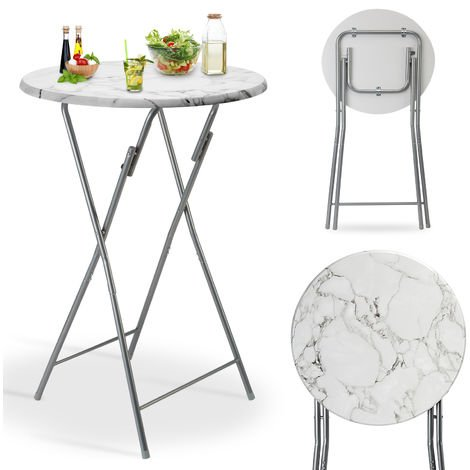 Standing Bar Table Marble Look MDF Table Top Metal Frame Party BBQ Outdoor Garden Tables