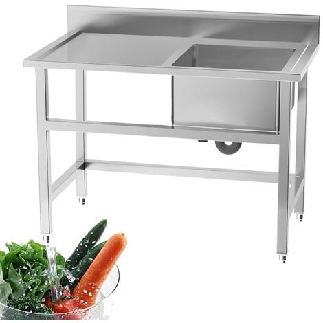Standing Kitchen Sink Stainless Steel 1 Bowl Side Platform Wash Table Commercial