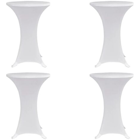 Standing Table Cover Ø70 cm White Stretch 4 pcs