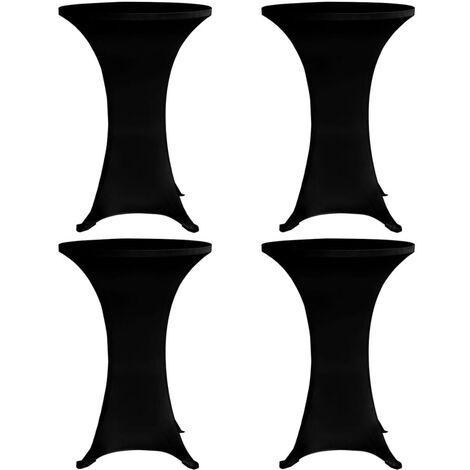 Standing Table Cover Ø80 cm Black Stretch 4 pcs