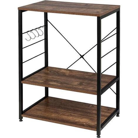Standregal aus Holz & Metall mit 3 Ablagen für Küche