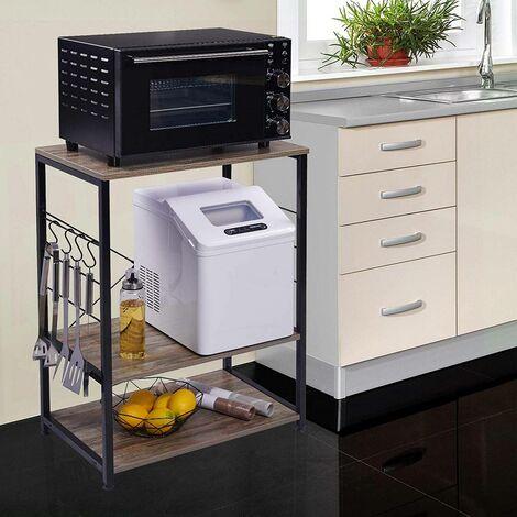 Standregal aus Holz & Metall mit 3 Ablagen für Küche dunkelbuche