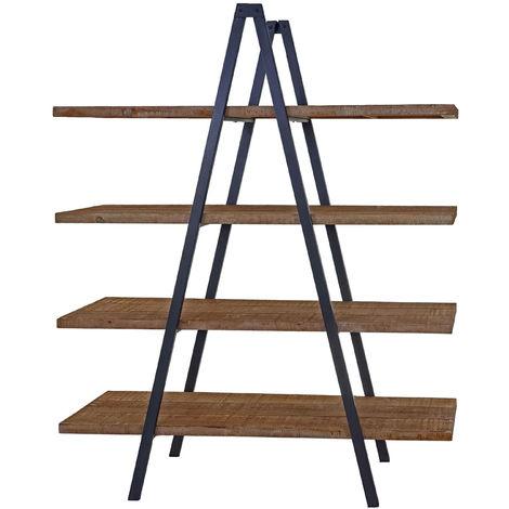 Standregal HHG-764, Bücherregal Regal, 4 Ebenen Tanne Holz rustikal massiv 189x150x44cm