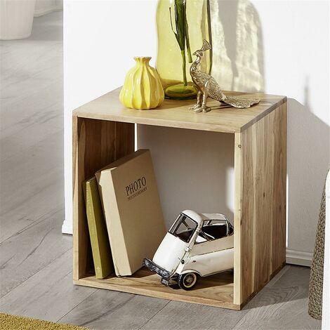 Standregal Massivholz Akazie Cube Regal Design Holzregal Naturprodukt Beistelltisch Landhaus-Stil B/H/T ca. 43,5/43,5/33cm