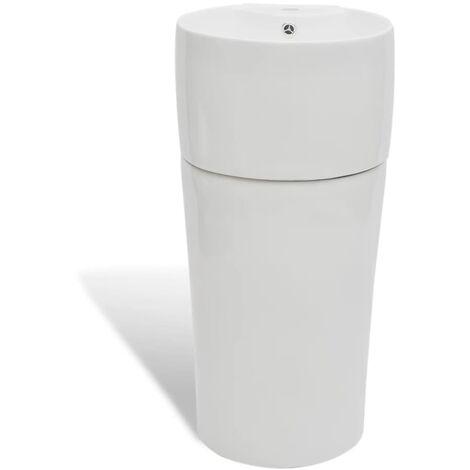 Standwaschbecken mit Hahn/Überlaufloch Keramik Rund Waschtischsäule