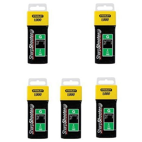 Stanley 1-TRA709T 5000 5x1000 Pack Heavy Duty Staples 14mm Sharpshooter Type G
