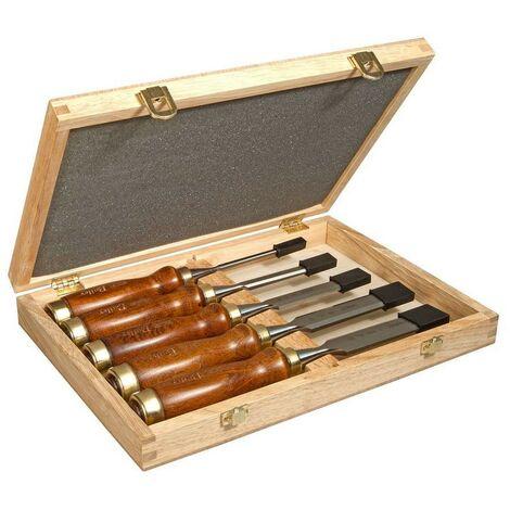 STANLEY 2-16-217 - Formon mango de madera juego 5 piezas 6.10.15.20.25 mm