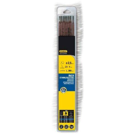 STANLEY 460726 Lot de 10 électrodes inox - Ø 2.5 mm - L 300 mm - Baguettes de soudure