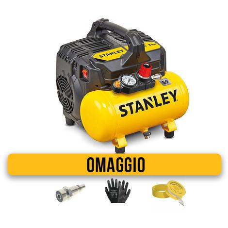 Stanley DST 100/8/6 Compressore aria portatile molto silenzioso non lubrificato 6 litri con OMAGGIO