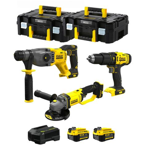 STANLEY FatMax Kit SVK301 (SFMCH900 SFMCG400 SFMCD711 2 x 4,0 Ah Chargeur 2 x TSTAK II)