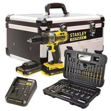 "main image of ""Stanley Fatmax - Perceuse à percussion 18V 2x2Ah Li-Ion avec coffret accessoires 50 pcs - FMCK625D2F-QW -"""
