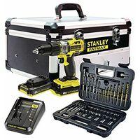 Stanley FMCK625D2F-QW - Taladro Atornillador Percutor 1 + Set de accesorios 50 piezas (2 baterías + cargador + caja de aluminio)