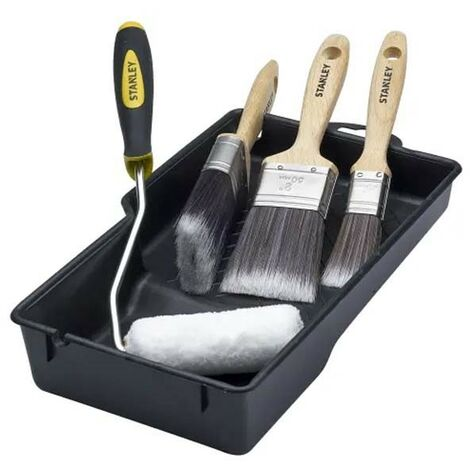 Stanley Mini Roller Paint Tray Fine Finish Paint Brush Set STMFST01 STADECORKIT