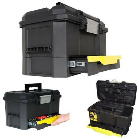 Stanley One Touch Toolbox Lockable With Organiser Drawer 19in STA170316 1-70-316