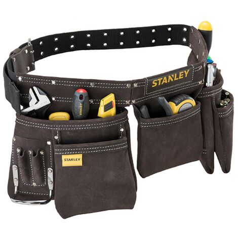 Stanley STA180113 Leather 5 Pouch Tool Apron Double Stitched Durable STST1-80113