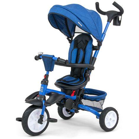 STANLEY | Tricycle évolutif bébé/enfant | Âge : 1-5 ans | Siège pivotant 360° | Harnais de sécurité | Charge max 25 kg | Bleu - Bleu