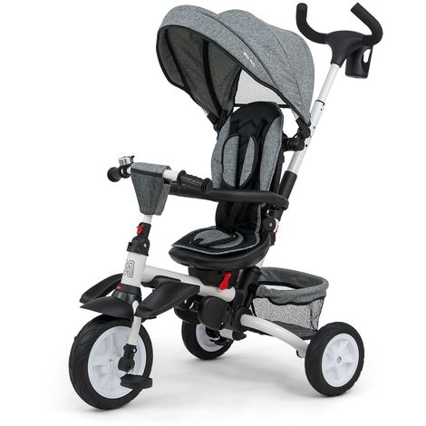 STANLEY | Tricycle évolutif bébé/enfant | Âge : 1-5 ans | Siège pivotant 360° | Harnais de sécurité | Charge max 25 kg | Gris - Gris