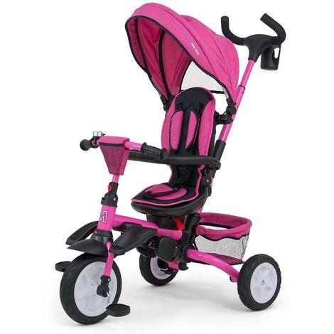 STANLEY | Tricycle évolutif bébé/enfant | Âge : 1-5 ans | Siège pivotant 360° | Harnais de sécurité | Charge max 25 kg | Rose - Rose