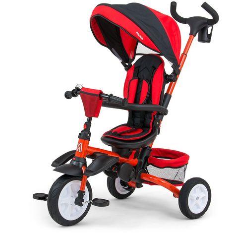 STANLEY | Tricycle évolutif bébé/enfant | Âge : 1-5 ans | Siège pivotant 360° | Harnais de sécurité | Charge max 25 kg | Rouge - Rouge