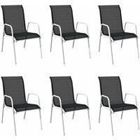 Stapelbare Gartenstühle 6 Stk. Stahl und Textiline Schwarz