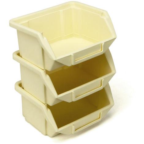 10 Stapelboxen Sichtlagerkästen Kunststoff PP Plast 110 x 90 x 50 mm beige