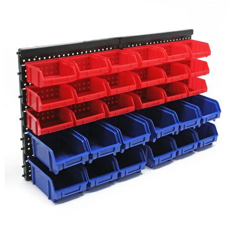 Stapelboxen Setzkasten Werkstatt Lagersystem 30tlg. Halterung Schraubenbox Lagerregal Steckregal
