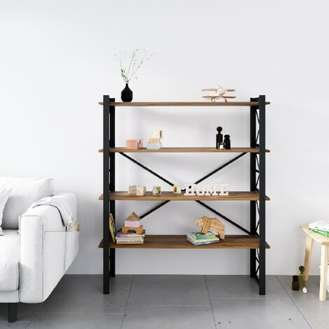 Star Buchhandlung - Regal - von Wand, Buero, Wohnzimmer - Schwarz aus Metall, Holz, 120 x 35 x 150 cm, -