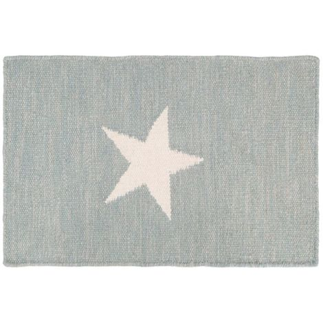 Star rug,grey and white, cotton/wool,hand woven