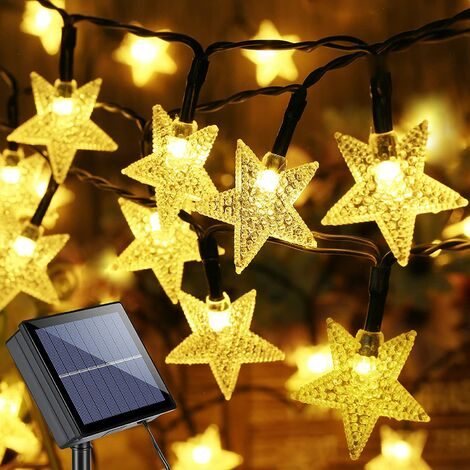Star Solar String Lights, 39ft 100 LED Solar Lights Outdoor, 8 Modes Star Twinkle Light Waterproof Solar Light String with Memory for Balcony Party Patio Garden Yard & Home Decor, Warm White