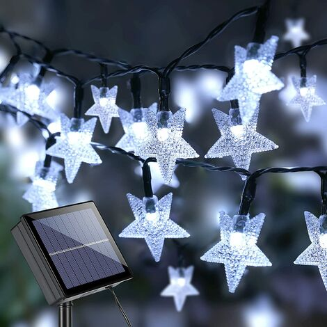 Star Solar String Lights, 39ft 100 LED Solar Lights Outdoor, 8 Modes Waterproof Solar Fairy Light Star Twinkle Light with Memory for Balcony Party Patio Garden Yard & Home Decor, Cool White