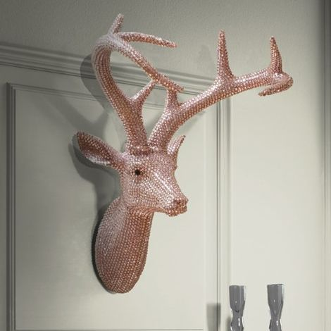 Star Studded Stag Wall Decoration Colourpastel Pink