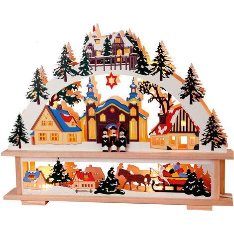 Star Village de noël lumineux en bois