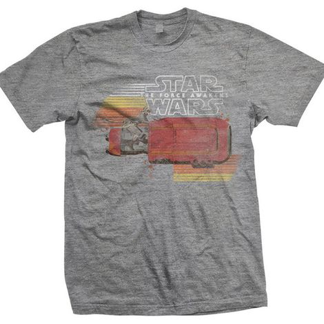 Star Wars Mens Grey T Shirt Episode Vii Rey Speeder Retro Official New And Boxed