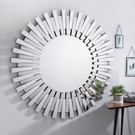 Starburst Large Silver Round Modern Mirror Str Lrg Rnd Mir