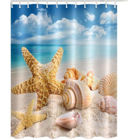 Starfish Shower Curtain Digital Printing 150x180cm + Hooks